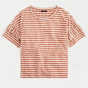 J.CREW Striped Ruffle Sleeve T-Shirt AG739 NWT